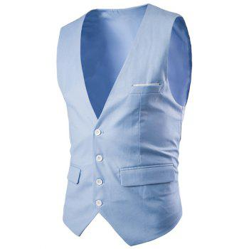 Slimming Single Breasted Men's Solid Color Waistcoat - LAKE BLUE L