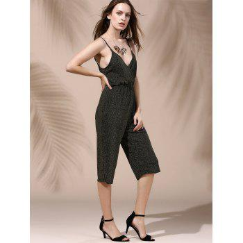 Alluring Backless Plunging Neck Solid Color Women's Jumpsuit - DEEP GRAY XL