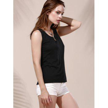Fashionable Letter Print Round Neck Women's Tank Top - BLACK S