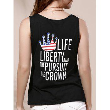 Fashionable Letter Print Round Neck Women's Tank Top