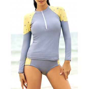 Star Print Long Sleeve Zipper Fly Tankini Top Tankini Set