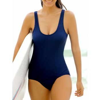 Stylish Solid Color Scoop Neck One-Piece Women's Swimwear
