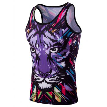 Personality 3D Round Neck Leopard Head Printed Men's Tank Top