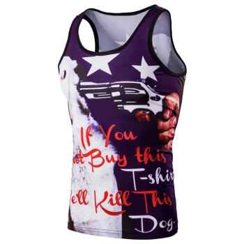 Trendy 3D Round Neck Letter And Stars Printed Tank Top For Men