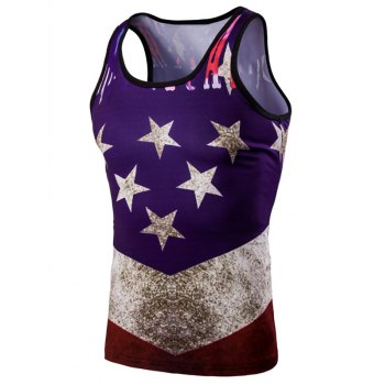 Buy Fashion 3D Round Neck American Flag Printed Men's Tank Top COLORMIX
