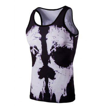 Buy Trendy 3D Men's Round Neck Black White Skulls Printed Tank Top COLORMIX