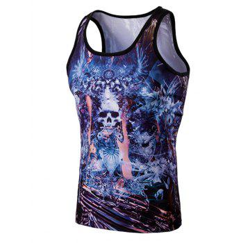 Fashion 3D Round Neck Skulls Printed Tank Top For Men
