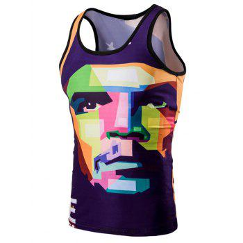 Trendy 3D Round Neck Human Face Printed Men's Tank Top