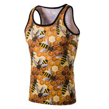 Personality 3D Round Neck Honeycomb Printed Men's Tank Top