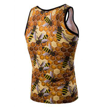 Personality 3D Round Neck Honeycomb Printed Men's Tank Top - COLORMIX M