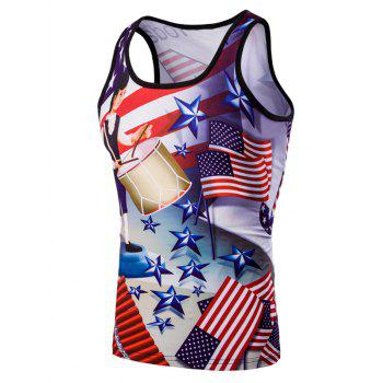 3D Slimming Fit Round Neck American Flag Printed Men's Tank Top
