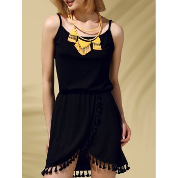 Fashionable Spaghetti Strap Pure Color Fringed Women's Dress