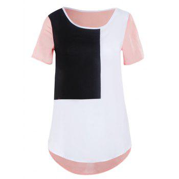 Stylish Women's Color Block Short Sleeve Scoop Neck Asymmetrical T-Shirt