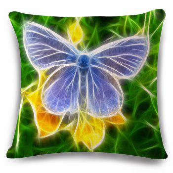 Stylish 3D Butterflies Pattern Square Shape Flax Pillowcase (Without Pillow Inner)