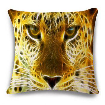 Stylish 3D Animals Leopard Pattern Square Shape Flax Pillowcase (Without Pillow Inner)