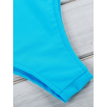 Women's Chic Blue Hollow Out Bikini Suit - AZURE S