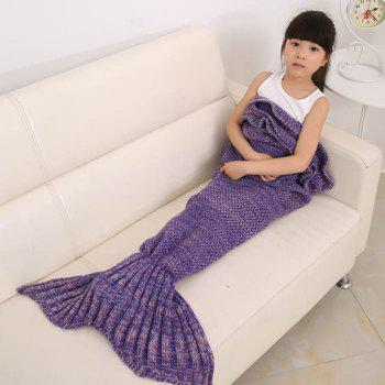 Flouncing Sleeping Bag Knitting Mermaid Blanket For Kids - PURPLE