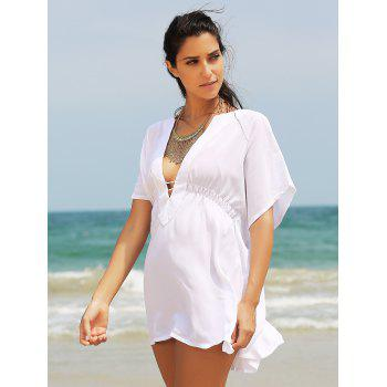 Chic Women's Plunging Neck Loose Cover Up - WHITE ONE SIZE(FIT SIZE XS TO M)