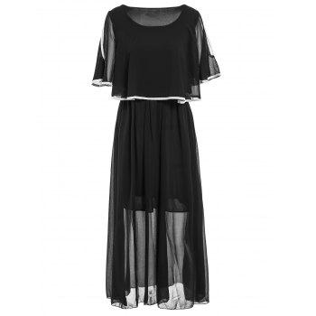 Stylish Women's Scoop Neck 3/4 Sleeve Pleated Dress