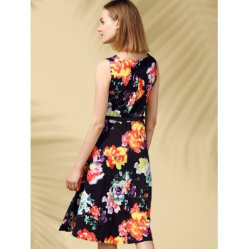 Retro Style Sleeveless Round Collar Floral Print Women's Dress - BLACK S