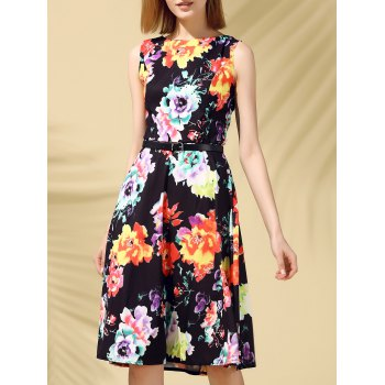 Retro Style Sleeveless Round Collar Floral Print Women's Dress