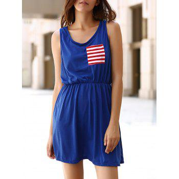 Chic U Neck Sleeveless Striped Pocket and Bowknot Embellished Women's Dress