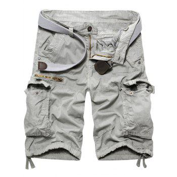 Fashion Zip conception solide Shorts Men 's  Couleur Cargo