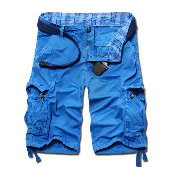 Casual Solid Color Loose Fit Cargo Shorts For Men