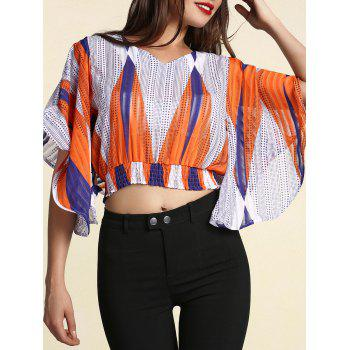V Neck Dolman Sleeve Printed Cut Out Blouse For Women