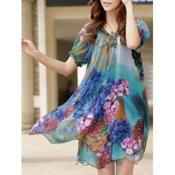 Plus Size V Neck Beaded Print Puff Sleeve Chiffon Dress For Women