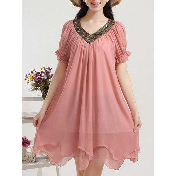 Plus Size V Neck Beaded Puff Sleeve Chiffon Dress For Women