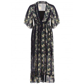 Stylish Women's Plunging Neck Floral Print Maxi Dress with Tube Top