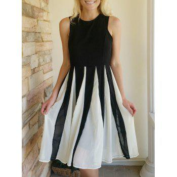Chic Women's Jewel Neck Sleeveless Mesh Splicing Color Block Dress
