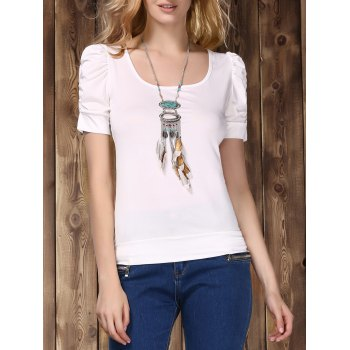 Stylish U Neck Short Sleeve Pure Color Women's T-Shirt