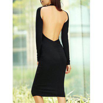 Long Sleeve Open Back Dress