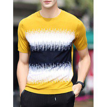 Color Block Splicing Design Loose-Fitting Round Neck Short Sleeve Men's T-Shirt - EARTHY EARTHY