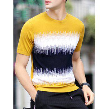 Color Block Splicing Conception ample T-shirt col rond manches courtes hommes s ' - Terreux XL