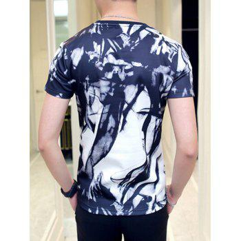 Color Block Abstract Print Round Neck Short Sleeve Men's T-Shirt - WHITE M