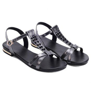 Concise Rivets and T-Strap Design Women's Sandals