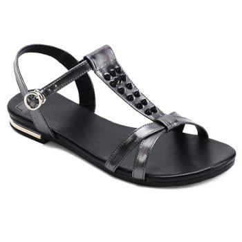 Concise Rivets and T-Strap Design Women's Sandals - GUN METAL 37