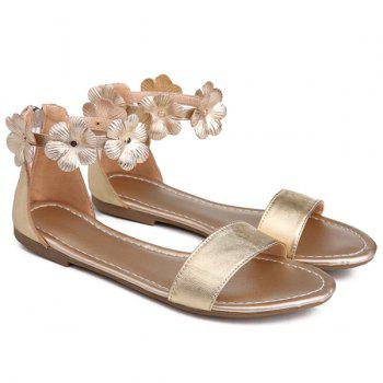Casual Flowers and Zipper Design Women's Sandals