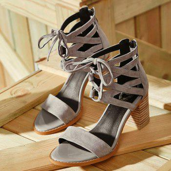 Stylish Hollow Out and Chunky Heel Design Women's Sandals - GRAY 37