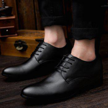 Fashionable Lace-Up and Black Color Design Men's Formal Shoes - BLACK 42