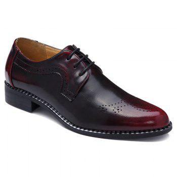 Stylish Colour Block and Engraving Design Men's Formal Shoes
