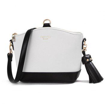 Elegant Color Block and Tassel Design Women's Crossbody Bag
