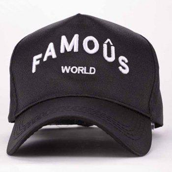 Summer Stylish Letters Embroidery Hip-Hop Men's Baseball Cap - BLACK