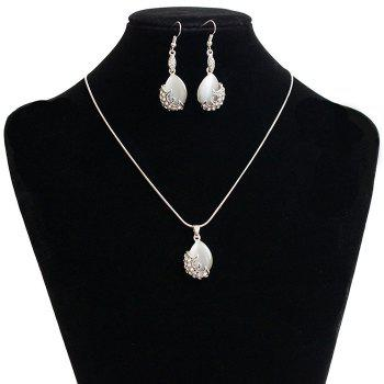 A Suit of Retro Faux Gem Rhinestone Water Drop Necklace and Earrings - SILVER