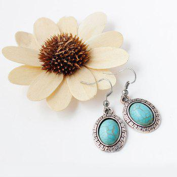 A Suit of Faux Turquoise Embossed Oval Necklace and Earrings - BLUE