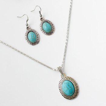 A Suit of Faux Turquoise Embossed Oval Necklace and Earrings