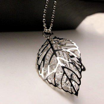 Stunning Rhinestone Leaf Hollow Out Sweater Chain For Women - SILVER SILVER